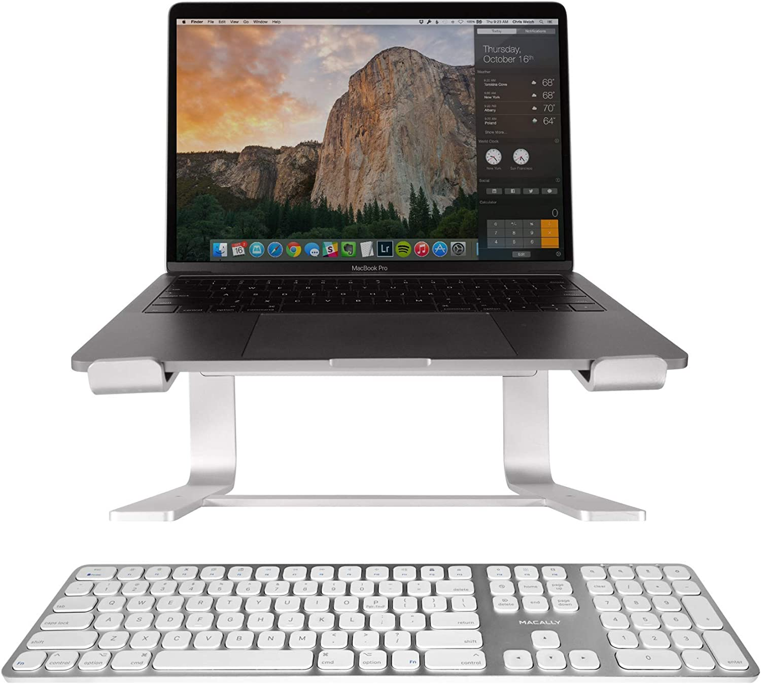 Macally Bluetooth Wireless Mac Keyboard and a Ergonomic MacBook Laptop Stand, Elevate Your Office While Working in Comfort