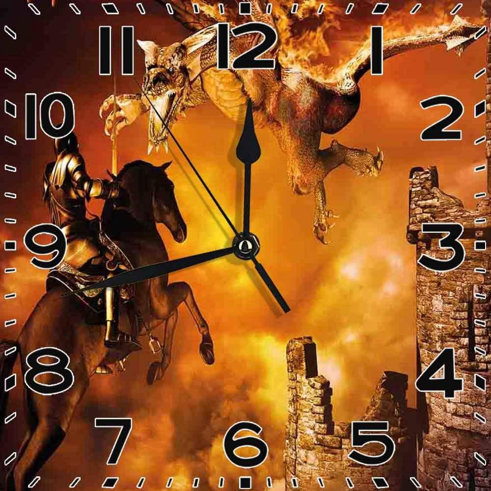 77 xiochgzish Reloj Cuadrado Niños con un Caballero a Caballo Castillo Mystic Fairytale Marigold Silent Home Office Decor Reloj Oficina