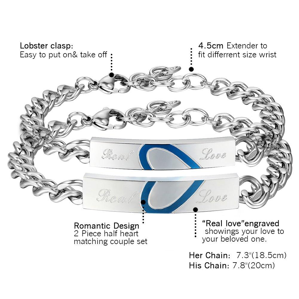 Cupimatch Edelstahl Paare Armband mit Gravur His Beauty Her Beast für  Verliebte Damen Herren, Pärchen cf1c830415