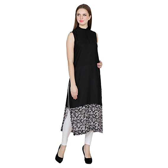 10048bb9803448 Black Sleeveless Regular Fit Printed Straight Kurti For Women  Amazon.in   Clothing   Accessories