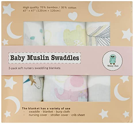 Woozy Owl Baby Blankets for Girls Ultrasoft Bamboo Muslin Swaddle 3-Pack  Large 47x47in