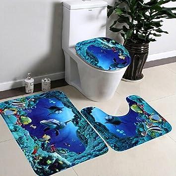 Toilet Seat, Gotd Bathroom Non-Slip Blue Ocean Style Pedestal Rug + Lid  Toilet