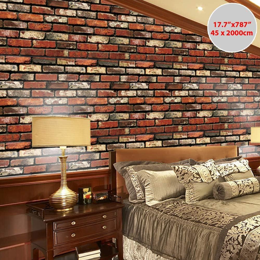 Wanweitong Papier Peint Auto-Adh/ésif Papier Peint Motif de Brique Pierre Vinyle 3D pour Home Chambre Salon TV Fond D/écoratif Autocollant Mural 45cm x 200cm 200cm, A9