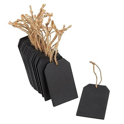 Juvale Etiquetas de pizarra - 24 piezas colgantes de madera ...