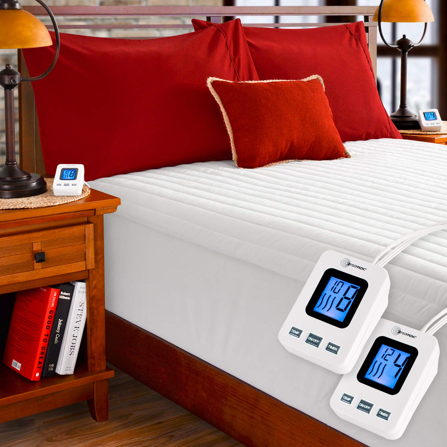 SimplyWarm Electric Heated Channel Quilted Mattress Pad with Sensor-Safe Overheat Technology - New for 2018 HIGH TEC Digital Controller (Queen w/Dual Controllers)