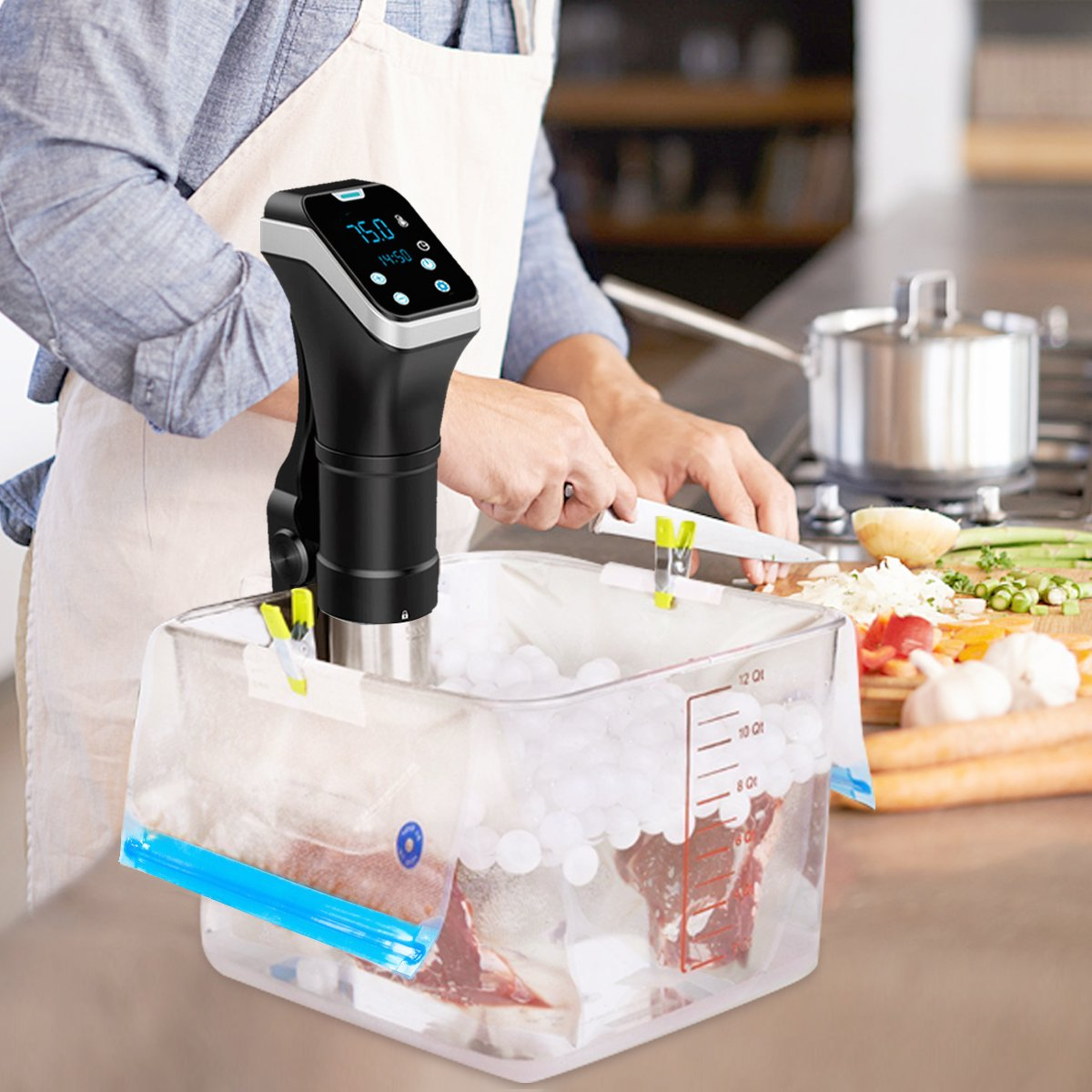 Sous Vide Cooker,Banne 800W 110V Digital Timer Manual Controlled IPX7 Waterproof Immersion Circulator Cooker with Cookbook by Banne