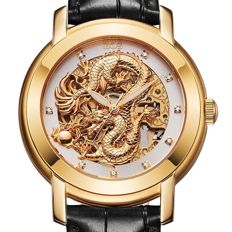 Angela Bos Herren ausgehÖhlten Chinese Dragon Fashion Mechanische Wasserdicht Armbanduhr Weiß Zifferblatt schwarz