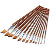 13pcs Professional Art Paint Brushes Set Long Wooden Handle Nylon Hair Paintbrush for Acrylic Oil Watercolor Gouache…