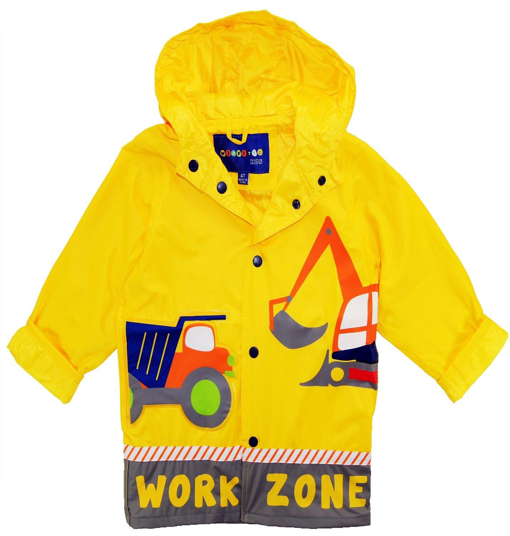 Wippette Little Boys Rainwear Waterproof Work Zone Raincoat Jacket, Yellow, 5