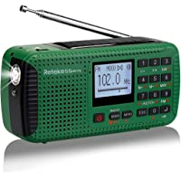 Retekess HR11S AM/UKW/KW Tragbares Radio Camping Solar Handkurbel Notfall Radio Weltempfaenger mit Wecker Wireless MP3 Player Taschenlampe Recorder Alarm Funktion und rote SOS Licht (Grün)