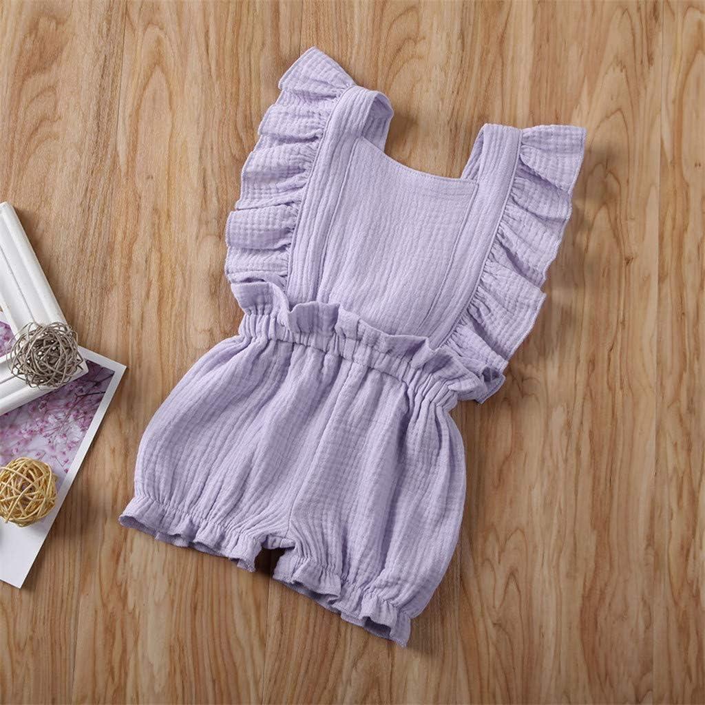 Babykleidung Neugeborene S/äugling Strampler Baby Junge M/ädchen /Ärmelloses Solid Falten Schultergurt Baumwolle und Leinen Overall Onesies Bodysuit Kleider Jumpsuit Outfits