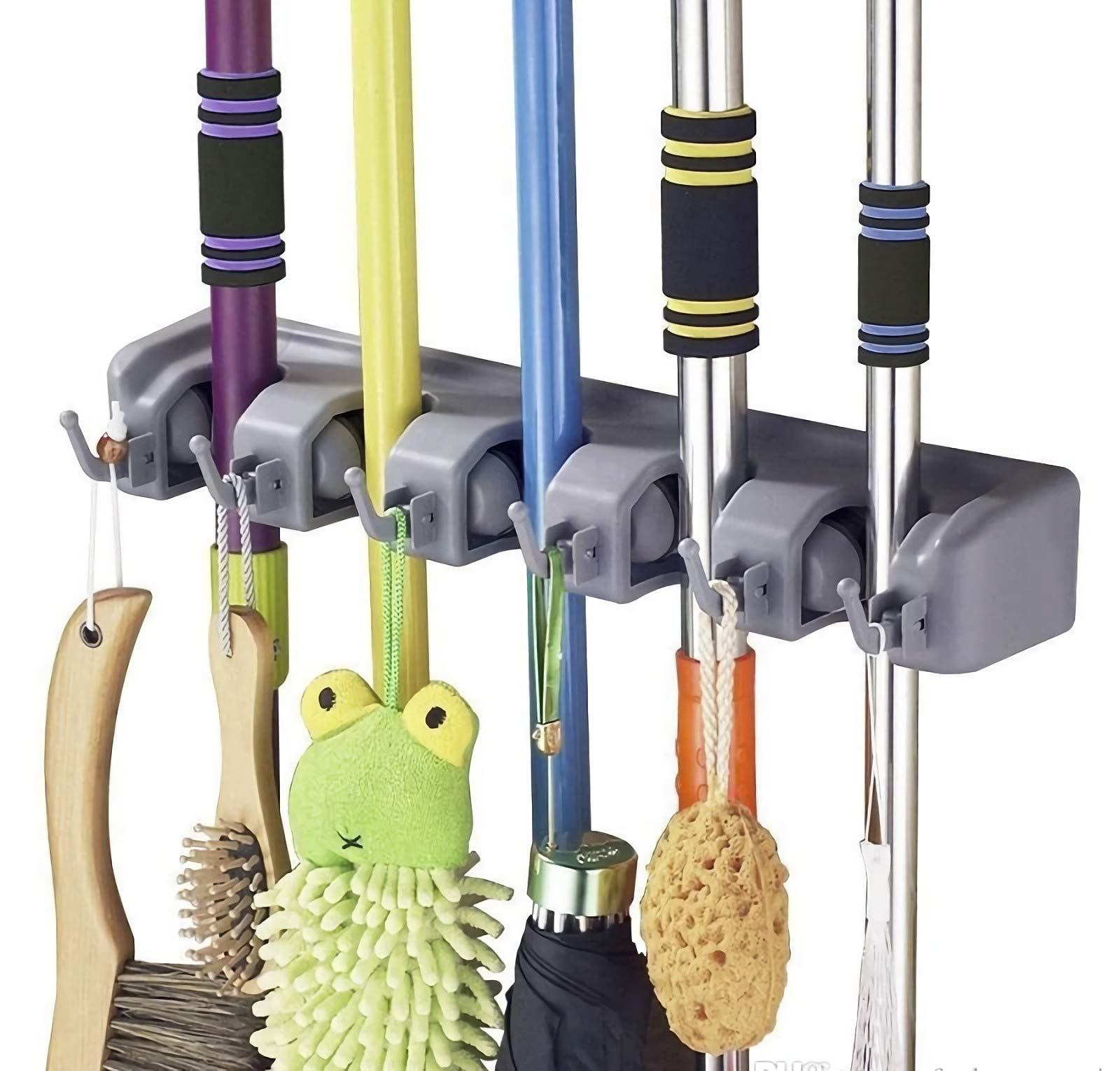 Multi-Function Mop Broom Holder Wall Mounted 5 Position 6 Hooks Organizer Storage System Mop Broom Holder