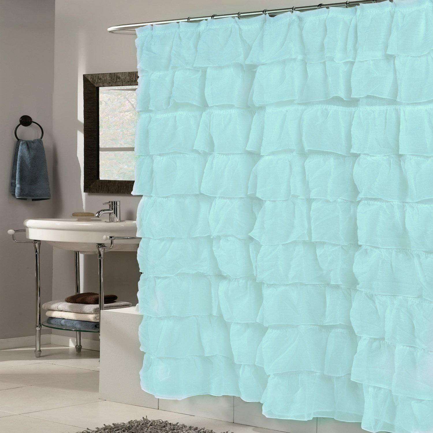 Sweet Home Collection Fabric 70'' x 72'' Shower Curtain with Elegant Crushed Voile Ruffled Tier Water Repellent Durable, Spa Blue