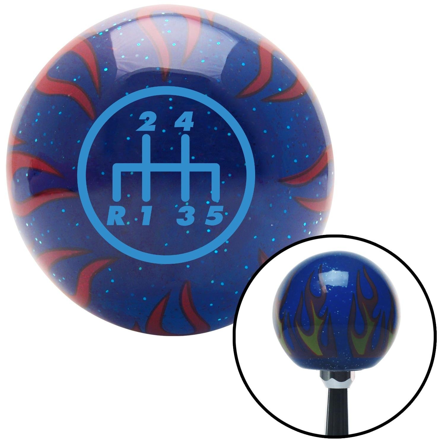 American Shifter 243811 Blue Flame Metal Flake Shift Knob with M16 x 1.5 Insert Blue 5 Speed Shift Pattern - 5DR-RDL