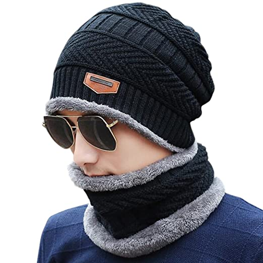 c6182e1110741 Lanzom Men Beanie Hat Scarf Set Winter Warm Knit Fleece Lined Skull Cap  Infinity Scarf Gift