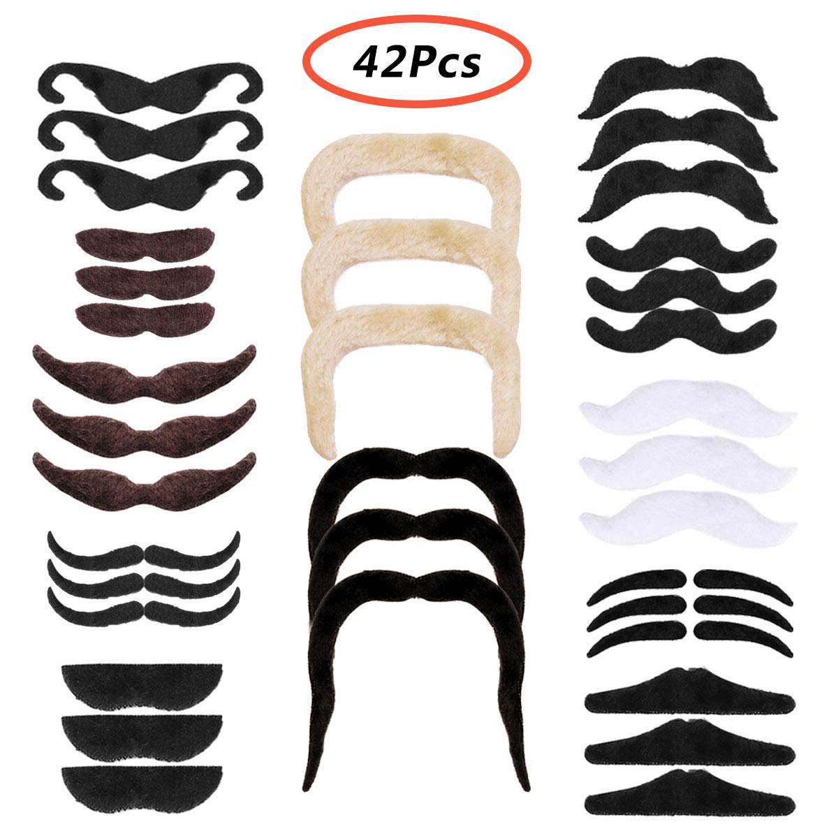 CHICTRY Novelty Fake Mustaches Self Adhesive Fake Beards Decorations for Fiesta Masquerade Cinco de Mayo Party Favors Supplies 42 Pcs One Size