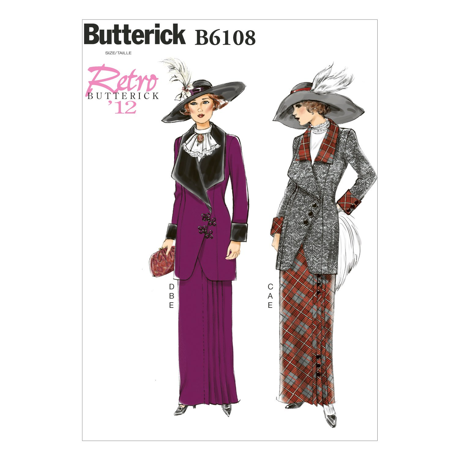 Titanic Edwardian Sewing Patterns- Dresses, Blouses, Corsets, Costumes 1910s Butterick Patterns B6108 Misses Jacket Bib and Skirt Size A5 $8.35 AT vintagedancer.com
