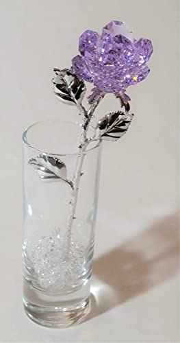 Purple Crystal Rose Made with Swarovski Crystal in Vase
