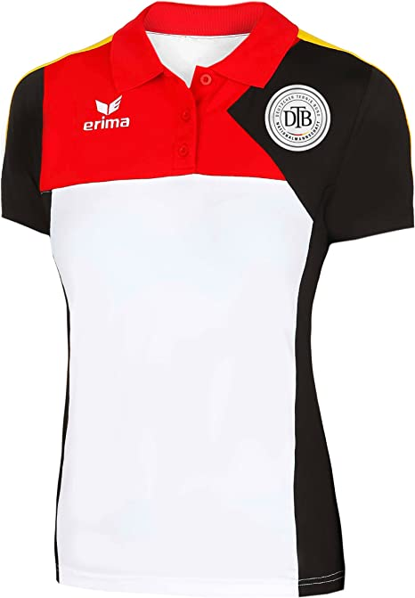 erima, Premium One Ger + DTB Logo Polo Damen-Weiß, Schwarz, 46 ...