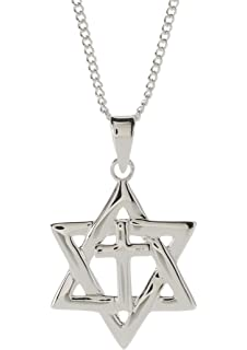 Amazon 925 sterling silver jewish charm cross star of david from the house of david necklace aloadofball Gallery
