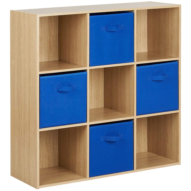 Hartleys Oak Effect 9 Cube Unit 4 Blue Storage Drawers Amazon