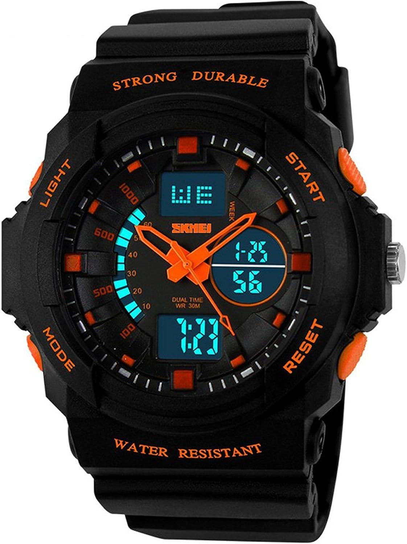 Fanmis Men s Womens Multi-Function Cool S-Shock Sports Watch LED Analog Digital Waterproof Alarm – Orange