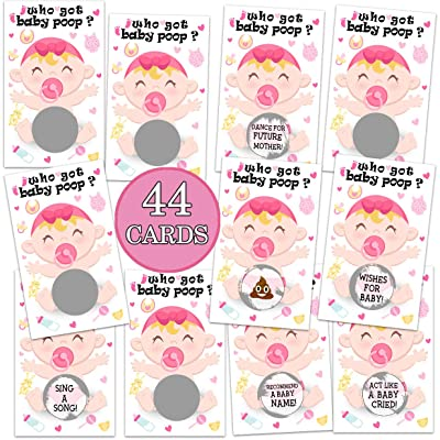 Baby Shower Games- Baby Shower Lottery Tickets Games Door Prizes Baby Shower Games for Girls -Lottery Card Ice Breaker Scratch Off Games Party- 44 Cards: Toys & Games