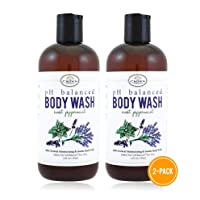100% Natural Vegan Liquid Bath Soap (2 PK), pH Balanced Body Wash for Sensitive Skin | Naturals Non Toxic Shower Gel for Men Women | Aloe, Spearmint, Lavender, Manuka
