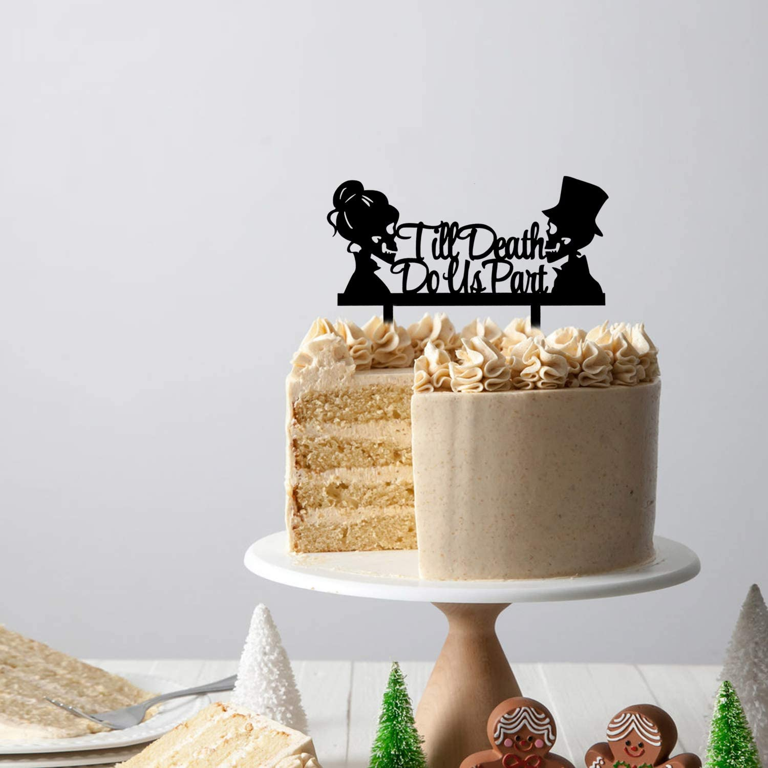 Acrylic Mr and Mrs Skull Wedding Cake Topper Halloween Party Decorations Day of the Dead Sign Till Death Do Us Part Cake Topper
