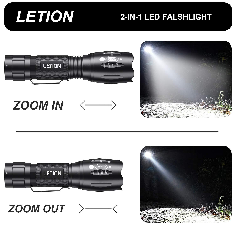 Torcia UV LETION luce nera UV 2 in 1 con riflessione 500LM /& modalit/à impermeabile 4 /& IPX 4 per vestiti per animali Rilevazione funghi//Pesca notturna//Viaggi//Difesa personale