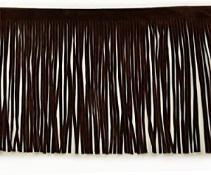 Expo International 6-Inch Faux Suede Fringe Trim Embellishment, 10-Yard, Brown