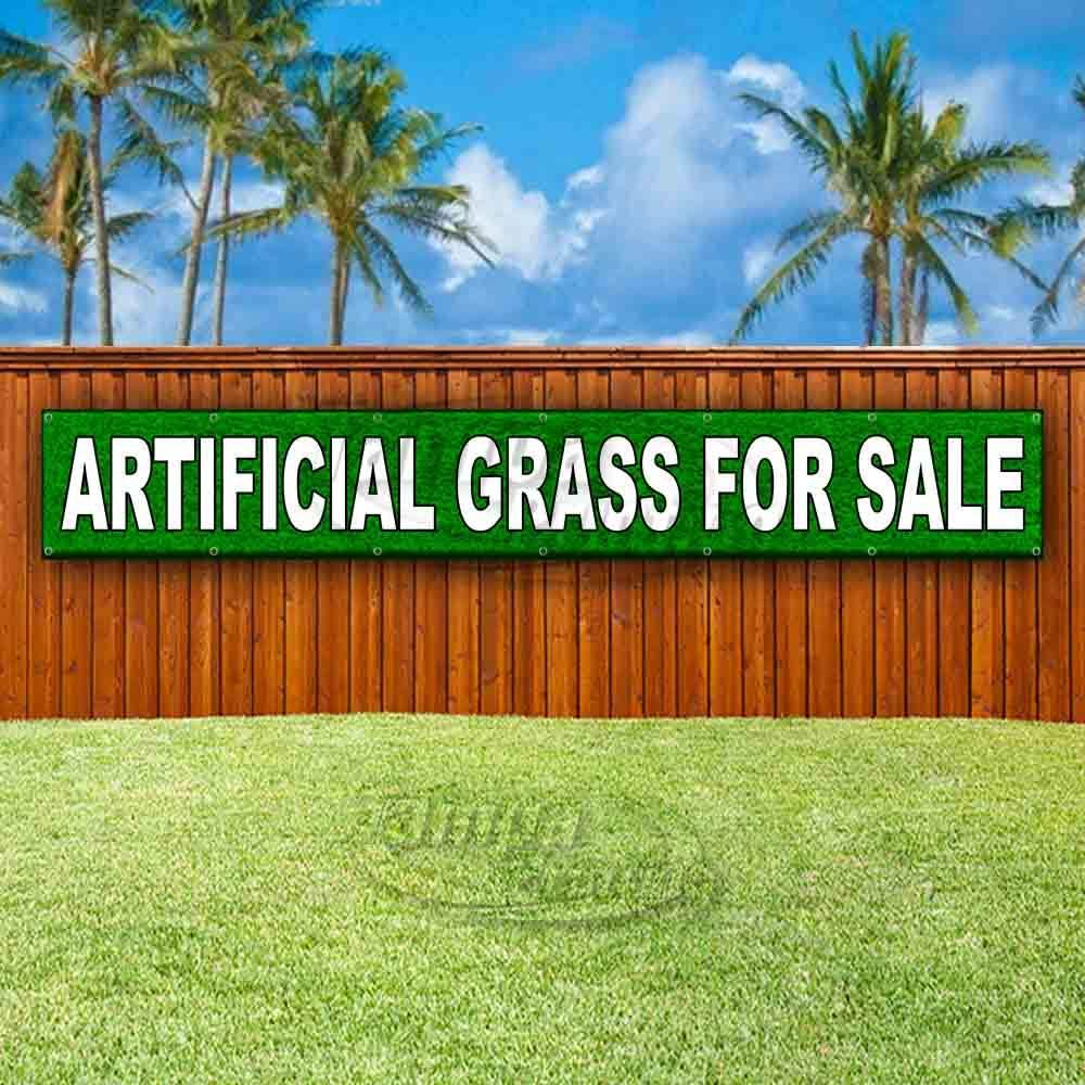New Artificial Grass for Sale Extra Large 13 oz Heavy Duty Vinyl Banner Sign with Metal Grommets Advertising Flag, Many Sizes Available Store