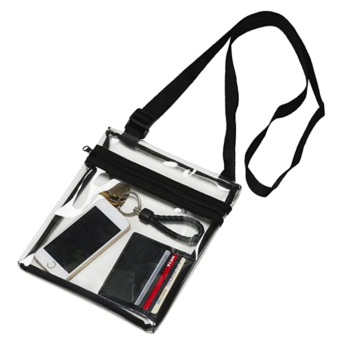 f7ecfa244936 Amazon.com   grinderPUNCH Small Clear Cross-Body Messenger Shoulder Bag  Long Strap - NFL Stadium Approved Clear Purse   Sports   Outdoors
