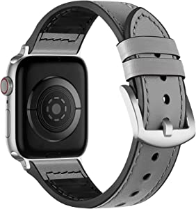 Muranne Leather Bands Compatible with Apple Watch 40mm 38mm for Men Women, Sleek Sturdy Genuine Leather Strap with Sweat Proof Rubber Compatible iWatch SE Series 6/5/4/3/2/1, Gray/Silver Adapter
