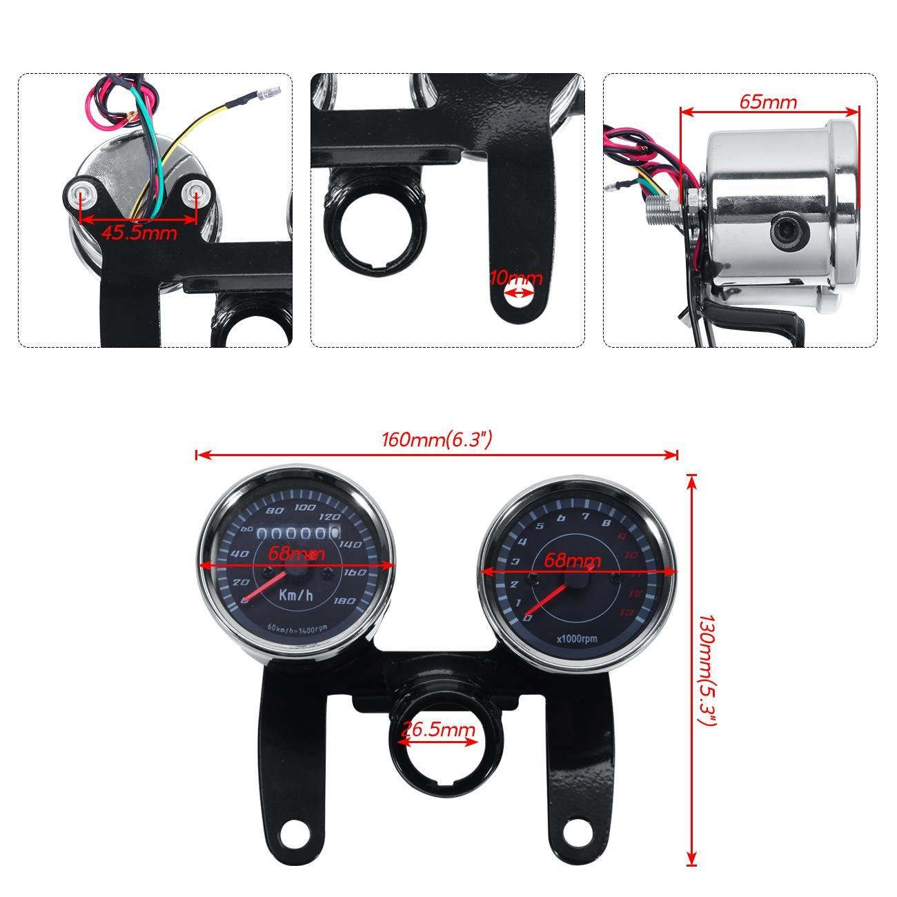 INNOGLOW Motorcycle Backlit Speedometer Tachometer Kit with Bracket,High Capacity Scale,Full-Sweep red Index,0-13000RPM,0-180km/h by INNOGLOW (Image #1)