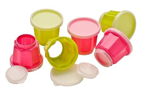 Premier Housewares - Juego de 6 moldes para gelatina, Color Rosa y Verde Lima
