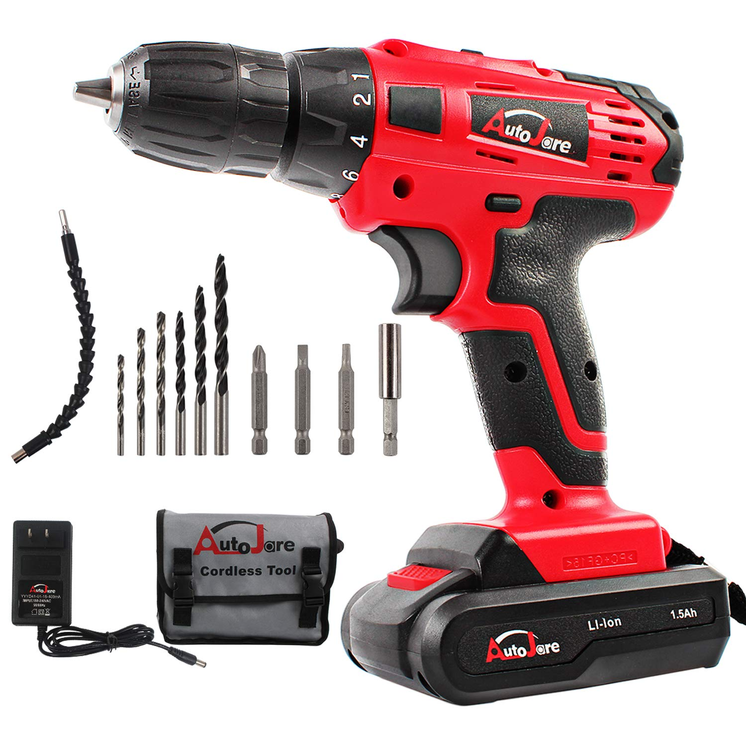 20V Max 18V Electric Cordless Drill – 3 8 Keyless Chuck, Lightweight Cordless Drill,Rechargeable Lithium-Ion battery Drill Driver,Durable Fast Application Speeds Dirll kit by AUTOJARE