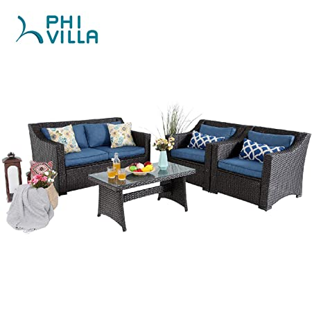PHI VILLA Outdoor Patio Wicker Furniture Set 4 Piece Conversation Sofa Set with Upgrade All-Weather Rattan Tempered Glass Top Coffee Table
