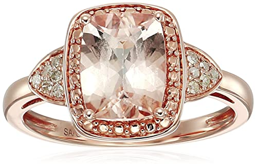 10k Pink Gold Morganite and Diamond-Accented Cushion Ring, Size 7