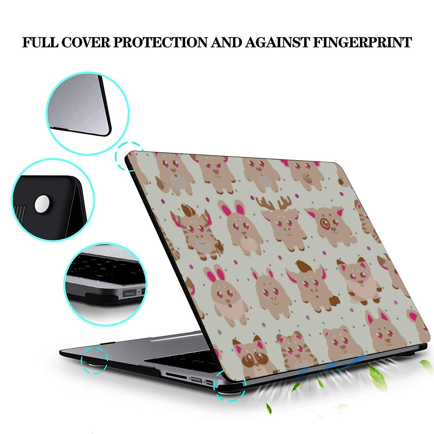 Laptop Cover Spring Cartoon Skunk Flowers Leaf Plastic Hard Shell Compatible Mac Air 11 Pro 13 15 Cover MacBook Air Protection for MacBook 2016-2019 Version