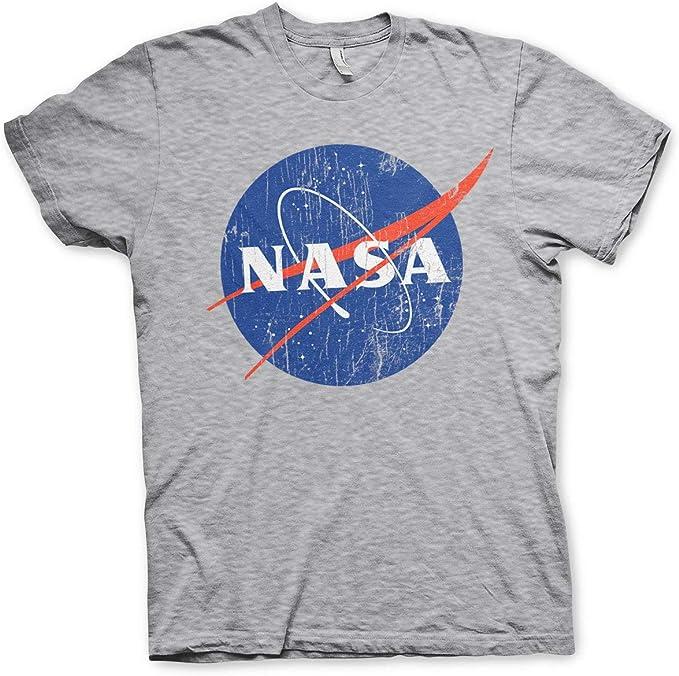 Nasa Licenciado Oficialmente Washed Insignia Camiseta para Hombre (Heather Gris): Amazon.es: Ropa y accesorios