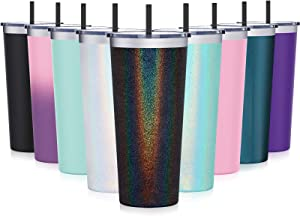 Travel Tumbler with Splash Proof Lid, Aikico 22oz Vacuum Insulated Coffee Tumblers Cups, Double Wall Travel Mug with Straws, Keeps Drinks Cold & Hot, Rainbow Black