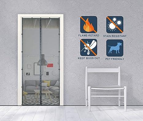 Liveinu Fliegengitter T/ür Insektenschutz Magnet Fiberglas Vorhang Fliegenvorhang Flammschutz Moskitonetz Klebmontage Ohne Bohren f/ür Balkont/ür Wohnzimmer Terrassent/ür 80x210cm Wei/ß