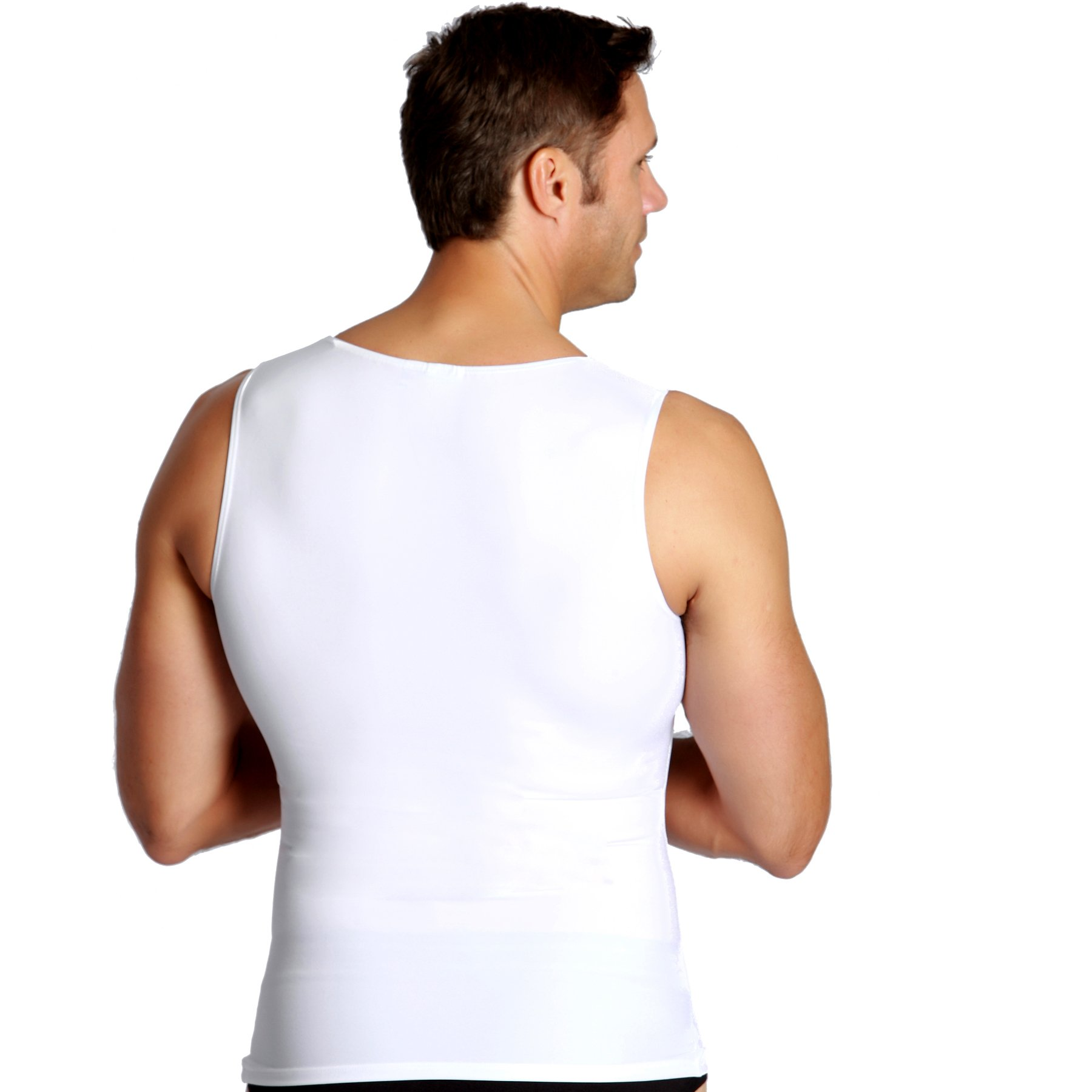 Insta Slim 3 Pack Muscle Tank, Look Up to 5 Inches Slimmer Instantly, White, Medium, The Magic is in The Fabric! by Insta Slim (Image #3)