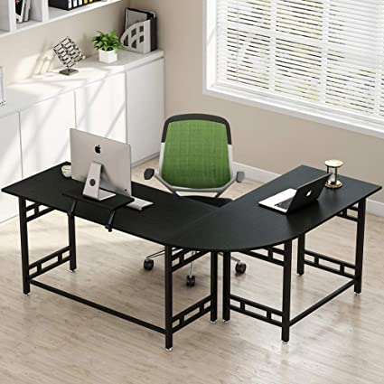 Tribesigns 67u0026quot; Large Modern L Shaped Desk Corner Computer Office Desk  PC Laptop Study