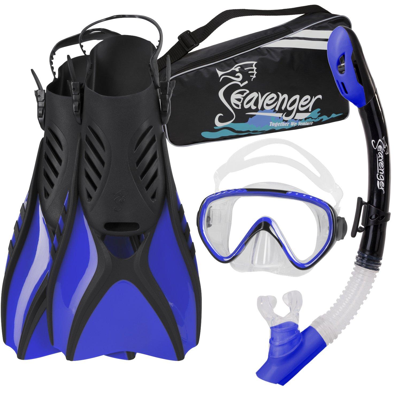 Seavenger Advanced Snorkeling Set with Panoramic Mask, Trek Fins, Dry Top Snorkel & Gear Bag (Blue, X-Small)