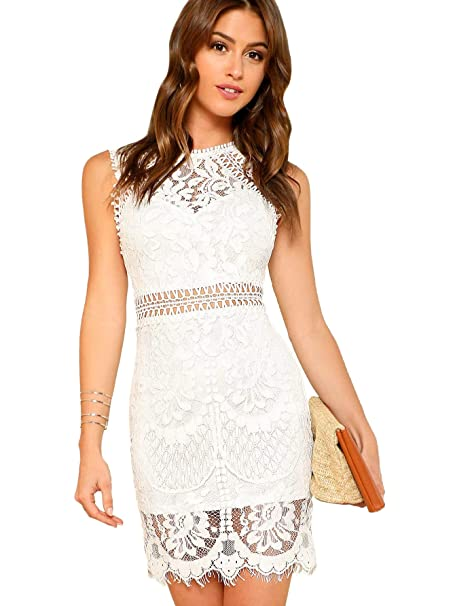 Verdusa Womens Sleeveless Scalloped Hem Fitted Floral Lace Bodycon Dress