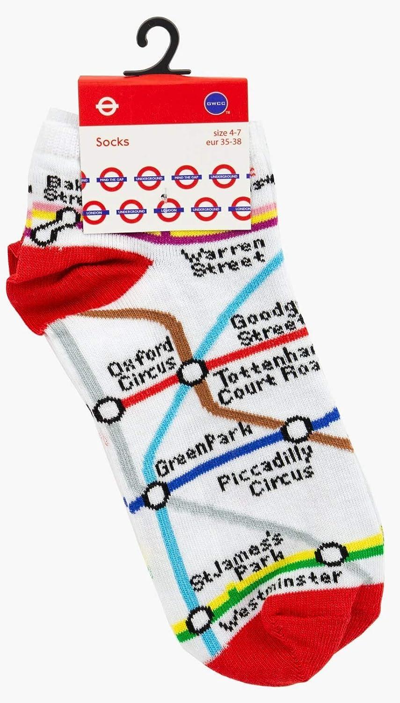 TFL6310 Licensed London Underground Tube Map Trainer Socks Ladies