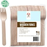"Disposable Wooden Forks, 6"" Utensils Eco-Friendly cutlery Biodegradable Compostable Forks party supplies (Pack of 100) GO GREEN!"