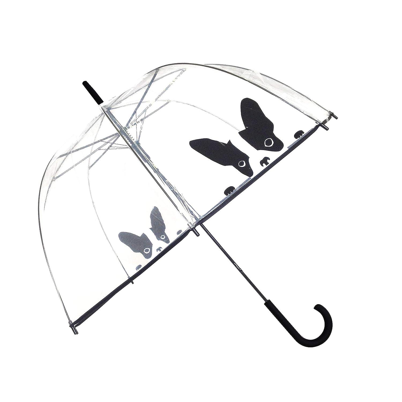 Paraguas de mujer con un perro estampado.
